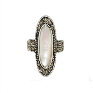 Mother of Pearl, Marcasite Silver Ring
